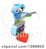 Clipart 3d Blue Bird Or Owl Reading On A Stack Of Books Royalty Free CGI Illustration by KJ Pargeter