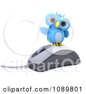 Clipart 3d Blue Bird Or Owl On A Computer Mouse Royalty Free CGI Illustration
