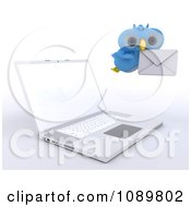 3d Blue Bird Or Owl Delivering Email By A Laptop