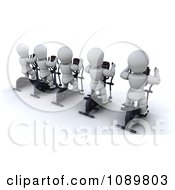 Clipart 3d White Characters Exercising On Cross Trainers In A Gym Royalty Free CGI Illustration