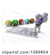 Clipart 3d White Character Using A Purple Bingo Marker Royalty Free CGI Illustration