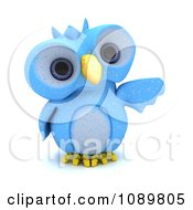 Clipart 3d Blue Bird Or Owl Pointing Royalty Free CGI Illustration by KJ Pargeter