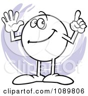 Clipart Moodie Character Counting Number 6 With His Fingers Royalty Free Vector Illustration