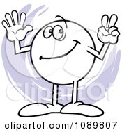 Clipart Moodie Character Counting Number 7 With His Fingers Royalty Free Vector Illustration