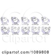 Clipart Moodie Characters Counting From One To Ten With Fingers Royalty Free Vector Illustration