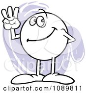 Clipart Moodie Character Counting Number 3 With His Fingers Royalty Free Vector Illustration