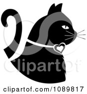 Clipart Black And White White Profiled Cat Royalty Free Vector Illustration