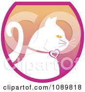 Clipart White Profiled Cat Over A Gradient Pink Oval Logo Royalty Free Vector Illustration by Pams Clipart