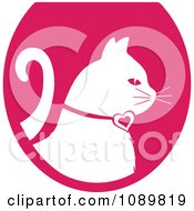Clipart White Profiled Cat Over A Pink Oval Logo Royalty Free Vector Illustration by Pams Clipart