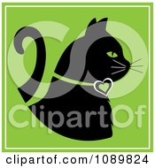 Clipart Black Profiled Cat With A Heart Collar On Green Royalty Free Vector Illustration