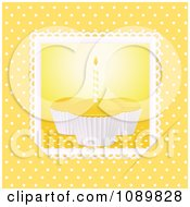 Clipart 3d Yellow Birthday Cupcakes With A Candle Over Yellow With Polka Dots Royalty Free Vector Illustration by elaineitalia