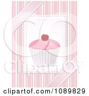 Clipart 3d Pink Cupcake With A Cherry Over Pink Stripes And Ribbons Royalty Free Vector Illustration