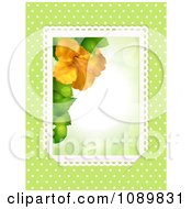 Clipart 3d Orange Hibiscus Flower Border With Lace Over Green With Polka Dots Royalty Free Vector Illustration
