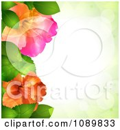 Clipart 3d Hibiscus Flowers And Leaves Border Over Green With Flares Royalty Free Vector Illustration