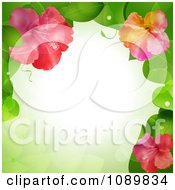 Clipart 3d Hibiscus Flower And Leaves Border Over Green With Flares Royalty Free Vector Illustration