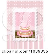 Clipart 3d Pink Frosted Cake Over Pink Polka Dots And Stripes Royalty Free Vector Illustration by elaineitalia