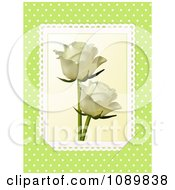 Clipart 3d Ivory Roses With Lace Over Green With Polka Dots Royalty Free Vector Illustration