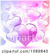 Clipart Background Of Pink And Purple Hearts Royalty Free Vector Illustration