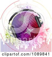 3d Gradient Disco Ball With Headphones Sound Signals Grunge And Equalizer Bars