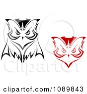 Clipart Red And Black And White Owl Faces Royalty Free Vector Illustration