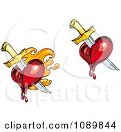 Clipart Swords Stabbing Flaming And Bleeding Hearts Royalty Free Vector Illustration