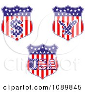 Clipart American Flag Shields With Dollar Symbol Eagle And USA Royalty Free Vector Illustration