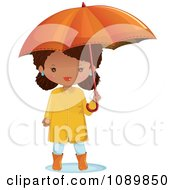 Clipart Black Girl With An Umbrella And Rain Gear Royalty Free Vector Illustration by Melisende Vector