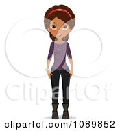Clipart Black Teenage Girl In A Purple Sweater Boots And Jeans Royalty Free Vector Illustration by Melisende Vector