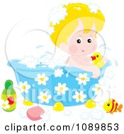 Cute Blond Boy Bathing In A Tub With Toys