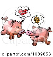 Clipart Broken Hearted And Money Seeking Piggy Banks Royalty Free Vector Illustration by Zooco