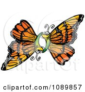 Clipart Orange Butterfly Pair Flying Together Royalty Free Vector Illustration by Zooco