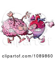 Clipart Human Heart Fighting With A Brain Royalty Free Vector Illustration
