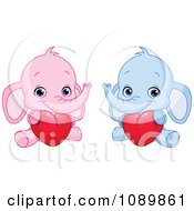 Pink And Blue Baby Elephants Holding Valentine Hearts
