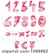 Pink And Red Heart Valentine Number And Math Design Elements