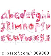 Pink And Red Heart Valentine Lowercase Letter Design Elements