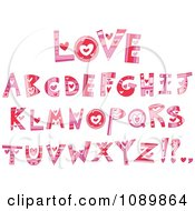 Pink And Red Heart Valentine Letter Design Elements