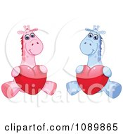 Poster, Art Print Of Pink And Blue Baby Giraffes Holding Valentine Hearts