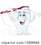 Clipart Dental Tooth Brushing His Head Royalty Free Vector Illustration