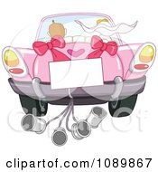 Clipart Just Married Bride And Groom Driving Away In A Pink Car With A Sign And Cans Royalty Free Vector Illustration by yayayoyo
