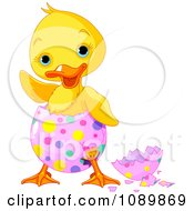 Cute Waving Chick Hatching From A Pink Easter Egg With Colorful Dots