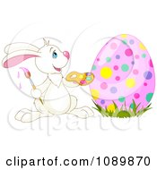 Clipart Happy Easter Rabbit Painting An Egg With Colorful Dots Royalty Free Vector Illustration