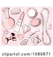 Clipart Pink Girly Makeup And Accesories Over Polka Dots Royalty Free Vector Illustration by Pushkin