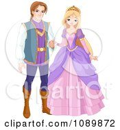 Clipart Prince And Princess Couple Holding Hands Royalty Free Vector Illustration