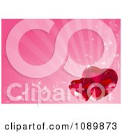 Two Ruby Valentine Hearts Over Pink Rays With Vines