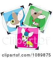 Clipart Three Cute Chihuahua Pictures With Corner Holders Royalty Free Vector Illustration