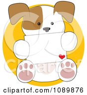 Clipart Sweet Puppy Holding A Love Letter Royalty Free Vector Illustration