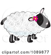 Clipart Curly Haired Lamb With A Flower Tucked Behind An Ear Royalty Free Vector Illustration