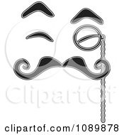 Black And White Face With Eyebrow Eyes Mustache And Monocle