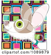 Clipart Profiled Chihuahua Portrait Over Colorful Squares Royalty Free Vector Illustration by Maria Bell