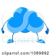 Clipart 3d Blue Cloud Character Royalty Free CGI Illustration